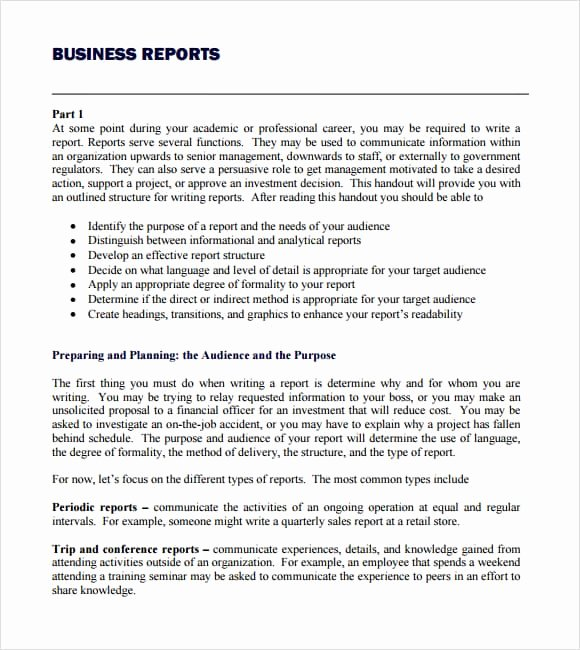 Types Of Business Reports Luxury Business Report Template Writing Word Excel format