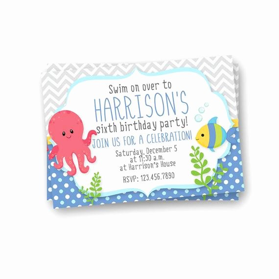 Under the Sea Invitation Template Awesome Under the Sea Birthday Invitation Kids Birthday Invitation