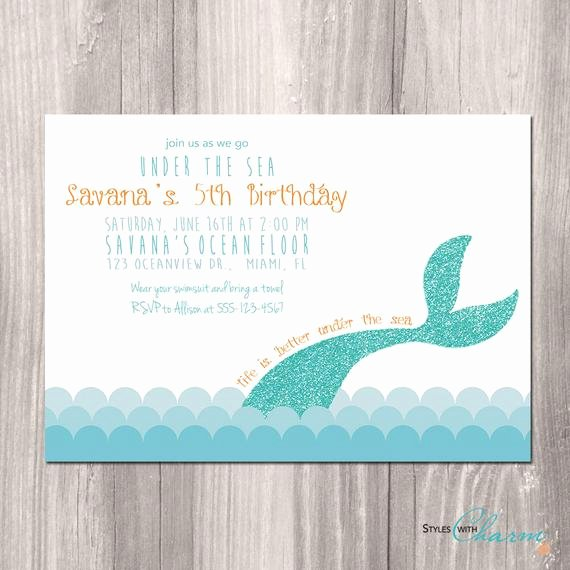 Under the Sea Invitation Template Beautiful Items Similar to Mermaid Birthday Invitation Little Mermaid Invitation Under the Sea