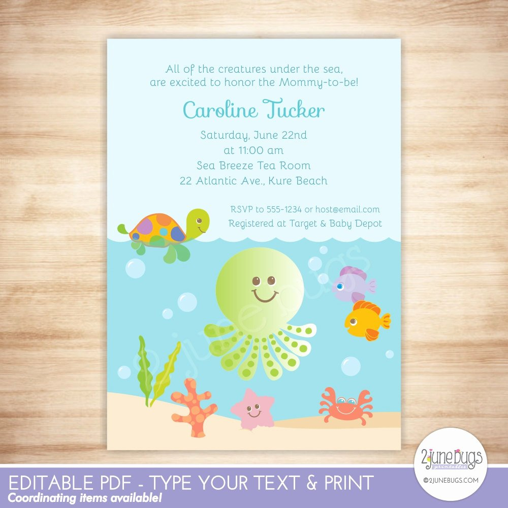 Under the Sea Invitation Template Elegant Under the Sea Baby Shower Invitation Gender Neutral Baby