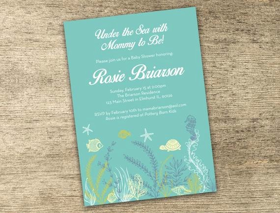 Under the Sea Invitation Template Elegant Under the Sea Customizable Baby Shower Invitation Kit Diy