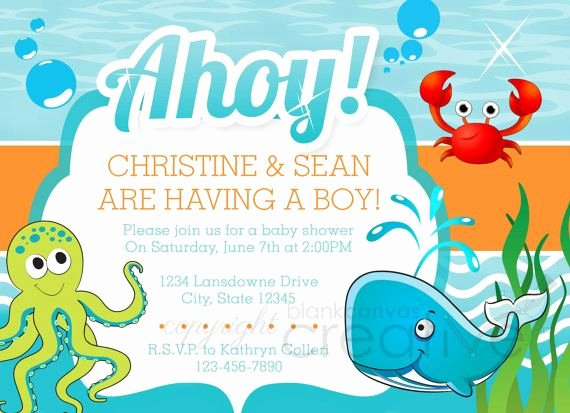 Under the Sea Invitation Template Fresh Diy Baby Shower Invitation Under the Sea Template Parties & events