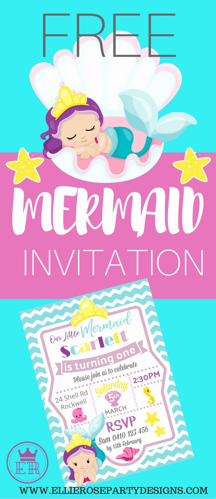 Under the Sea Invitation Template Fresh Free Mermaid Under the Sea Invitation Template to Step by Step Tutorial On How I Made
