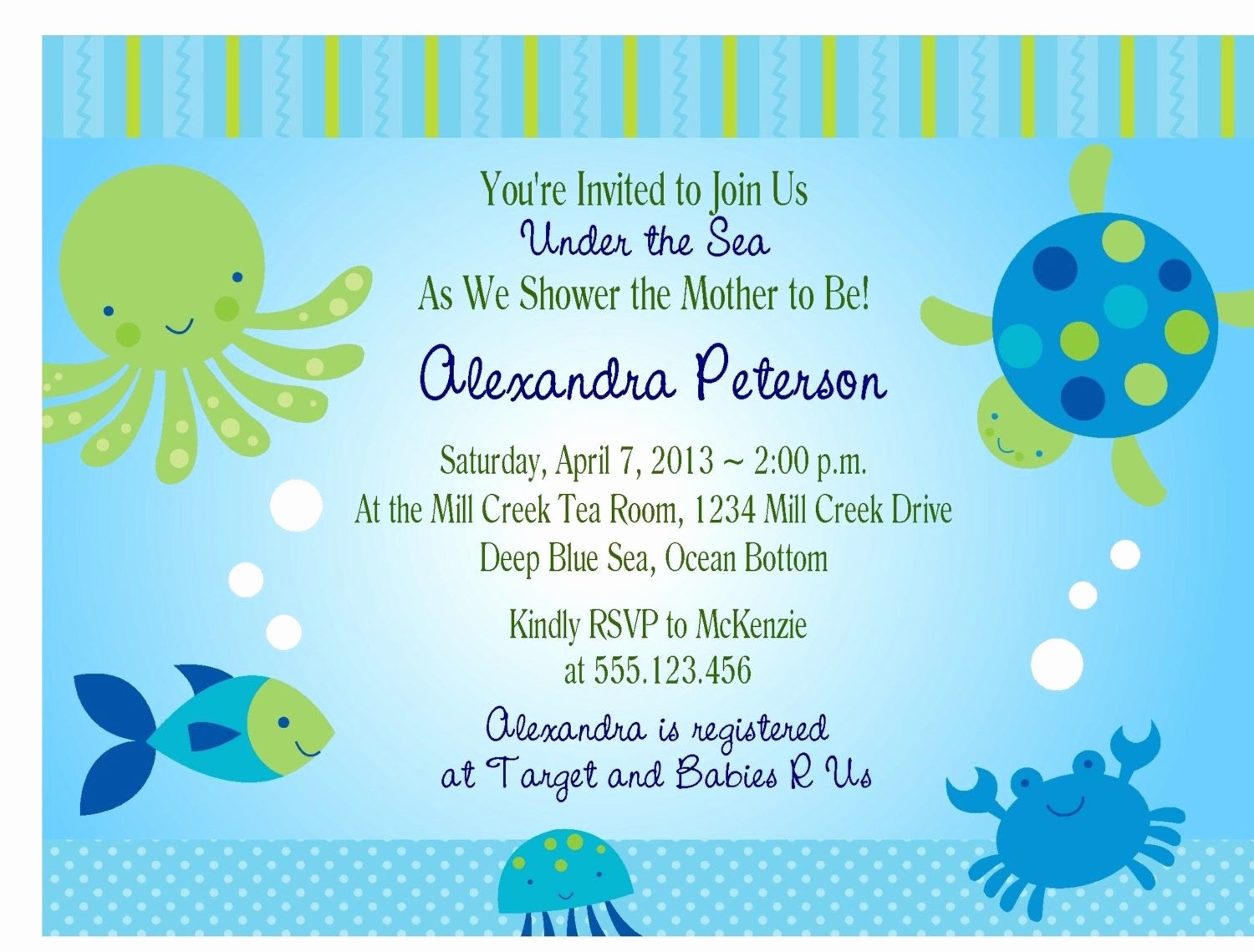 Under the Sea Invitation Template Fresh Under the Sea Baby Shower Invitations Free Templates Invitations Card by Silverlining