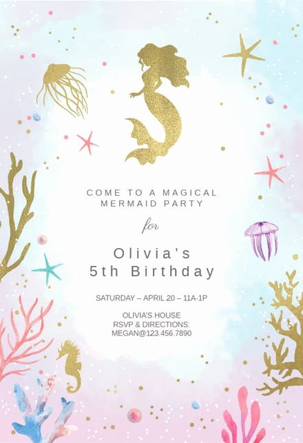 Under the Sea Invitation Template Inspirational Girls Birthday Invitation Templates Free