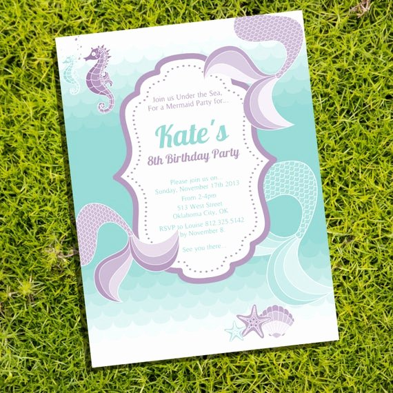 Under the Sea Invitation Template Lovely Mermaid Under the Sea Party Invitation Ly Instantly