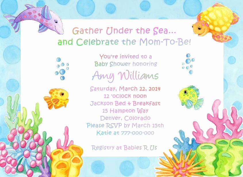 Under the Sea Invitation Template Lovely Under the Sea Baby Shower Invitations