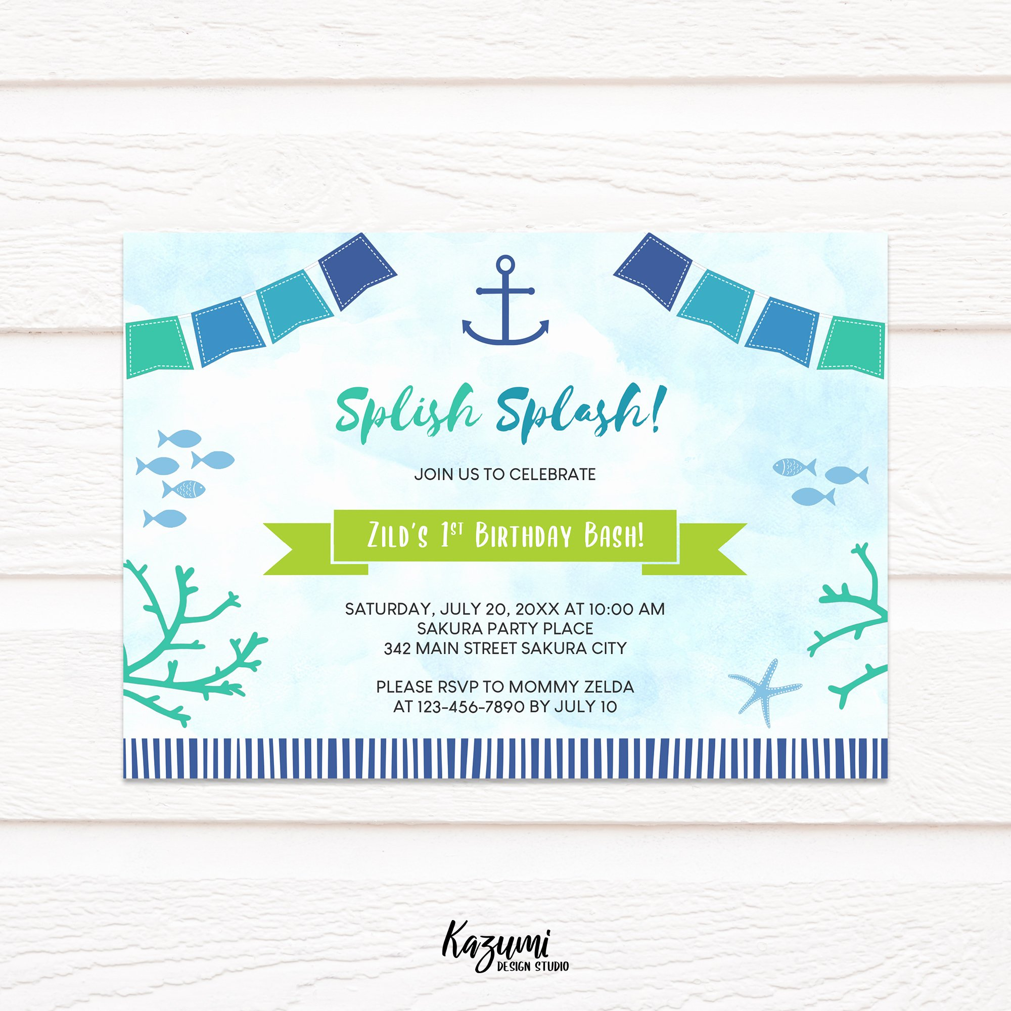 Under the Sea Invitation Template Luxury Kdsb198 Under the Sea Nautical Birthday Invitation Printable Template