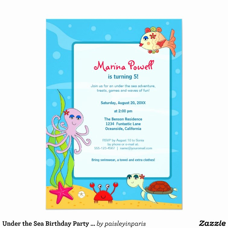 Under the Sea Invitation Template New Under the Sea Birthday Party Invitations