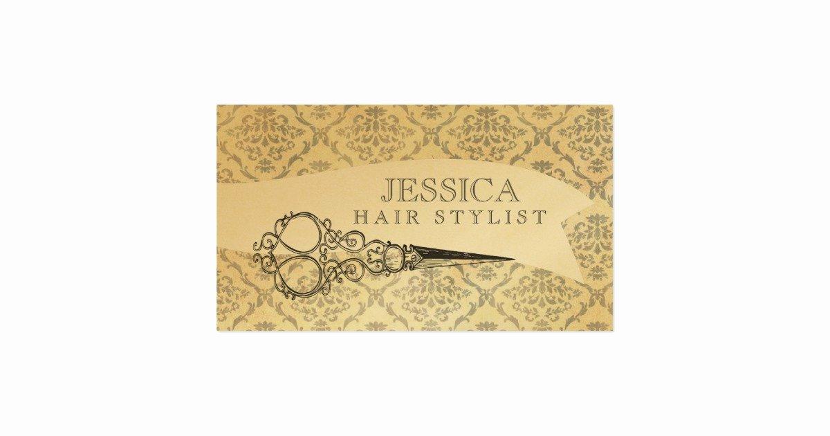 Unique Hair Stylist Business Cards Inspirational Vintage Unique Professional Gold Hair Stylist Business