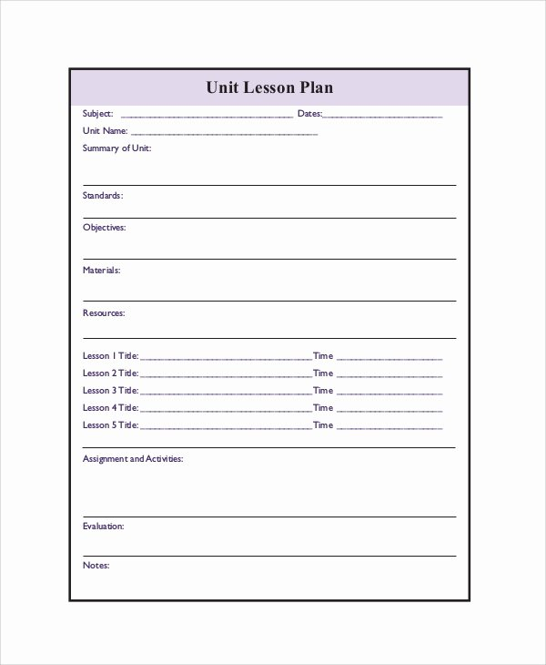 Unit Lesson Plan Template Best Of Printable Lesson Plan 7 Free Word Pdf Documents Download