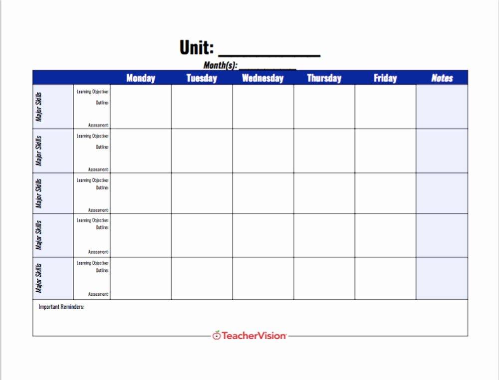 Unit Lesson Plan Template Elegant A Unit Planning Template for Teachers Teachervision