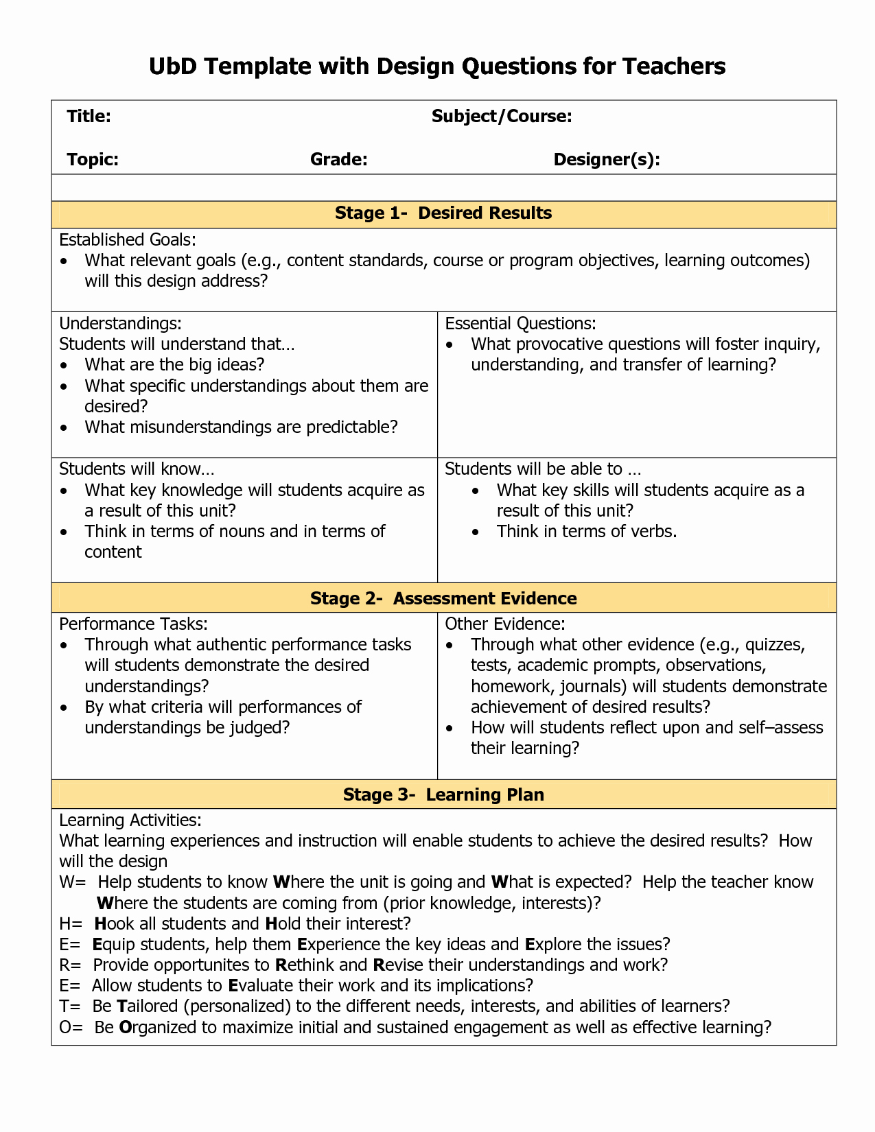 Unit Lesson Plan Template Lovely Blank Ubd Template Things for the Classroom
