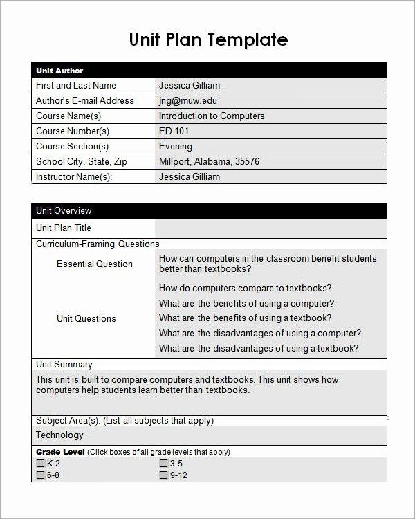 Unit Lesson Plan Template New Unit Plan Template