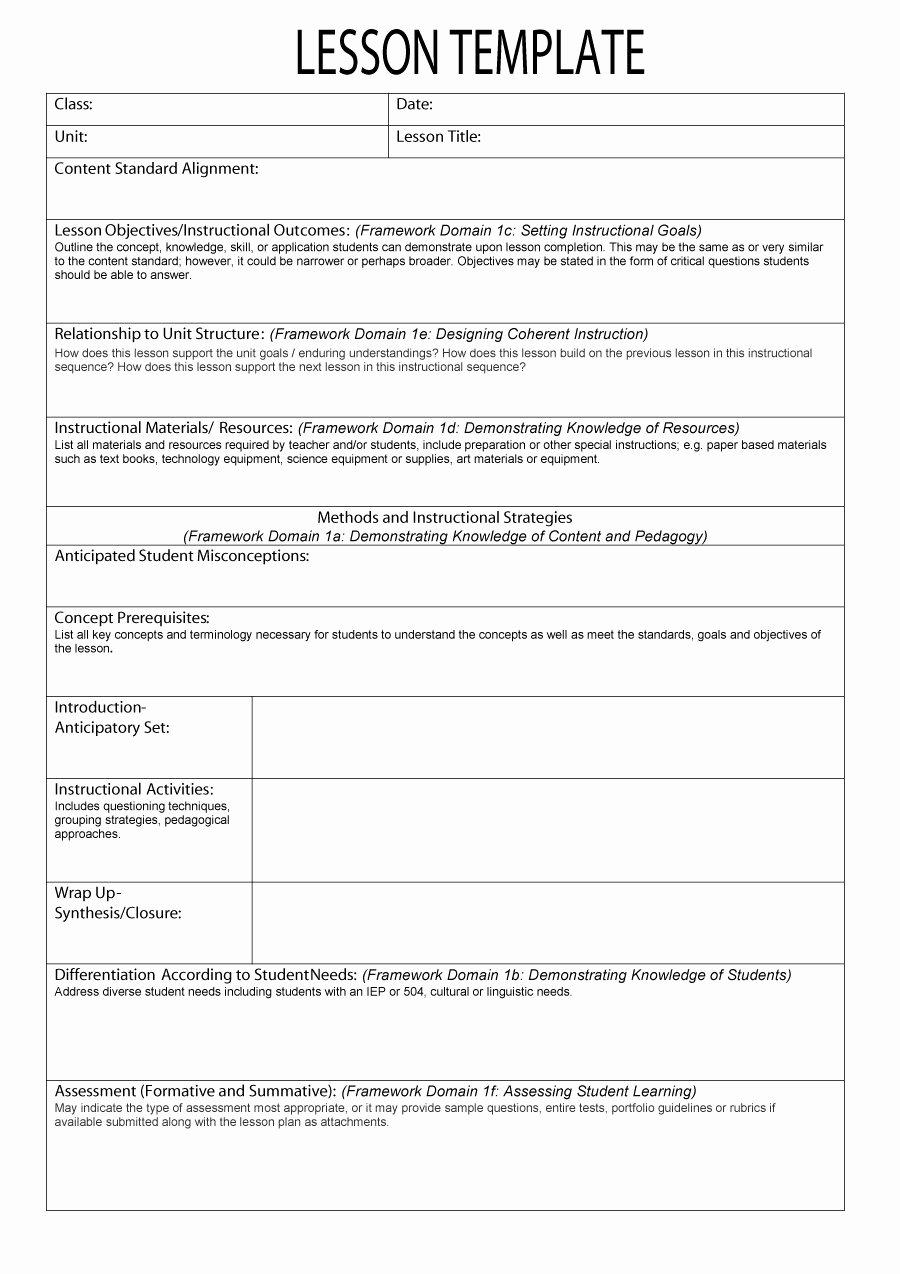 Unit Plan Template Common Core Elegant 44 Free Lesson Plan Templates [ Mon Core Preschool Weekly]