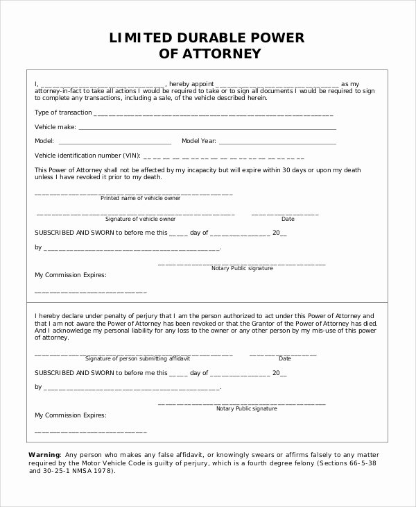 Unlimited Power Of attorney form Awesome Sample Limited Power Of attorney form 10 Examples In Pdf Word