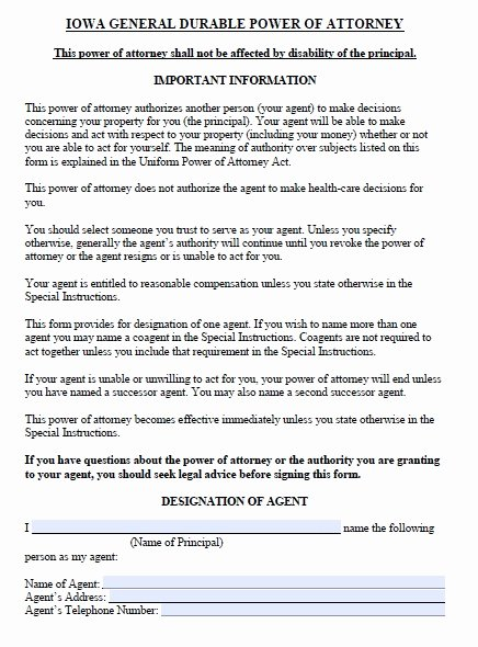 Unlimited Power Of attorney form Fresh Free Iowa Durable Power Of attorney form – Pdf Template