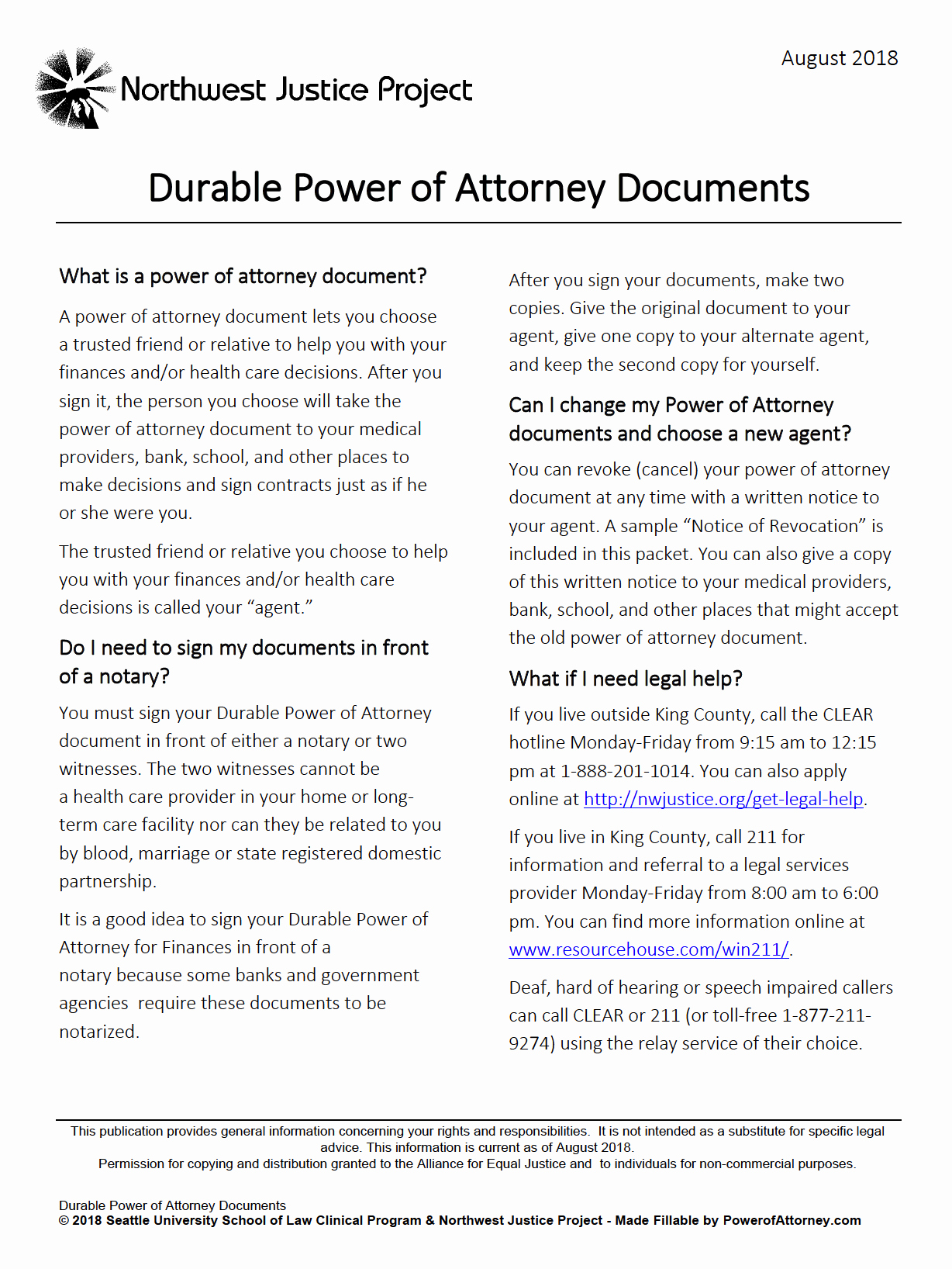 Unlimited Power Of attorney form New Free Durable Power Of attorney Washington form – Adobe Pdf