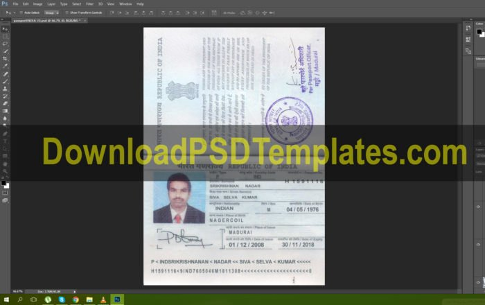 Us Passport Template Psd Awesome Indian Passport Psd [in Editable Template]