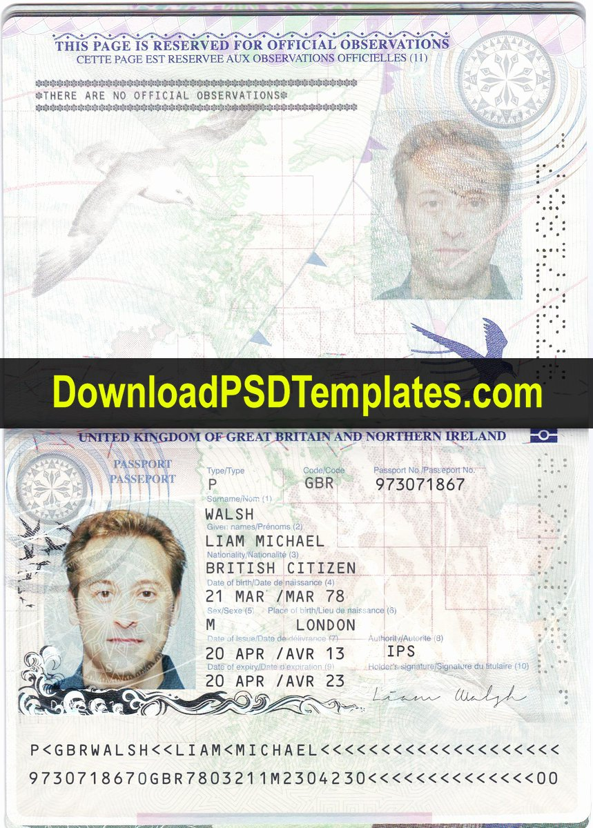 Us Passport Template Psd Elegant Uk Passport Template Psd [editable Shop File]