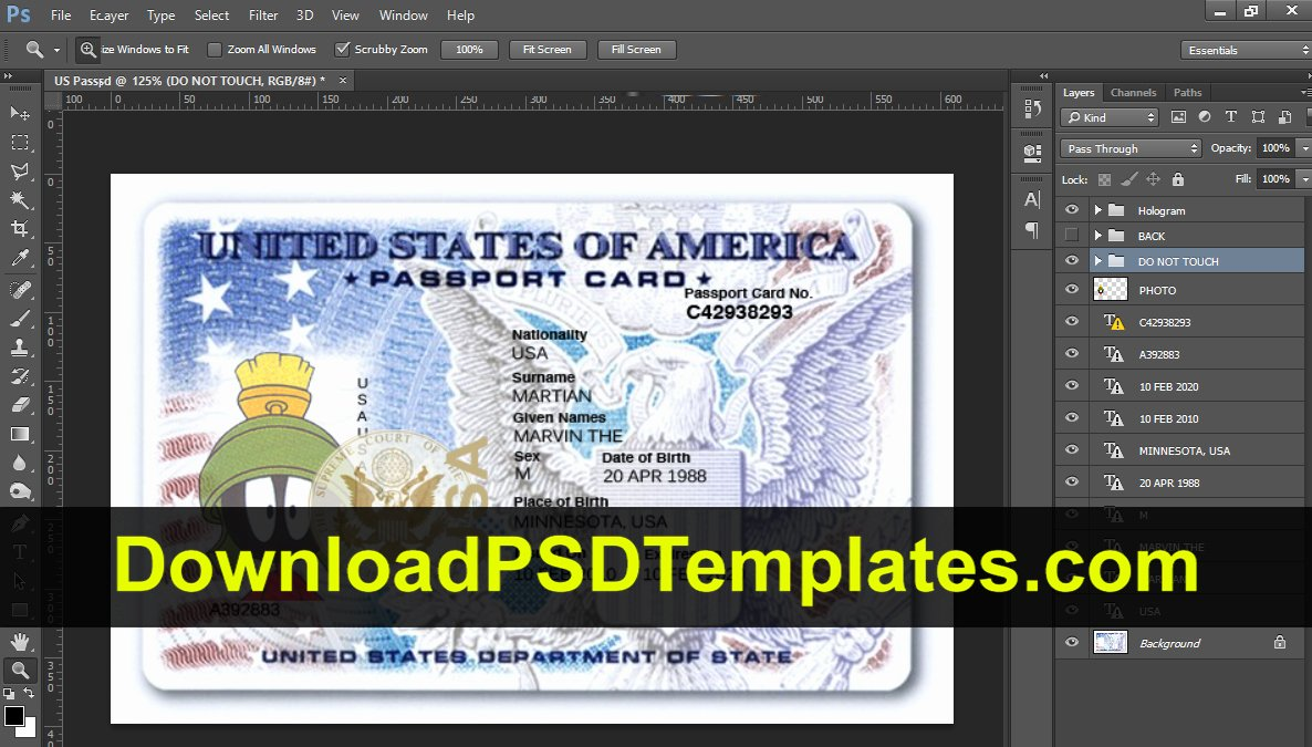 Us Passport Template Psd Fresh Usa Passport Psd Template [download Editable source File]