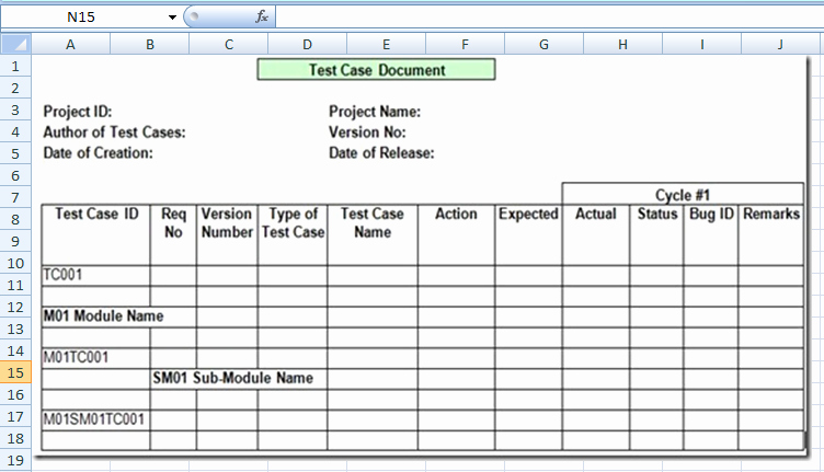 Use Cases Template Excel Elegant Project Management Test Case Template Excel Xls Microsoft Project Management Templates