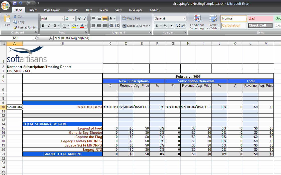 Use Cases Template Excel New Grouping and Nesting Sample Excelwriter V8 Docs Ficewriter Docs