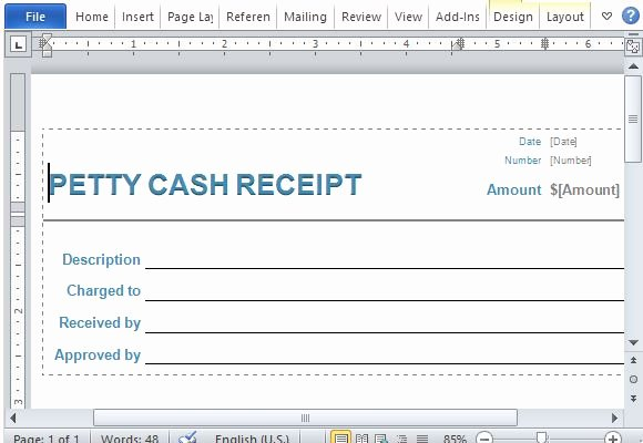 Use Of Funds Template Inspirational Petty Cash Receipt form for Word