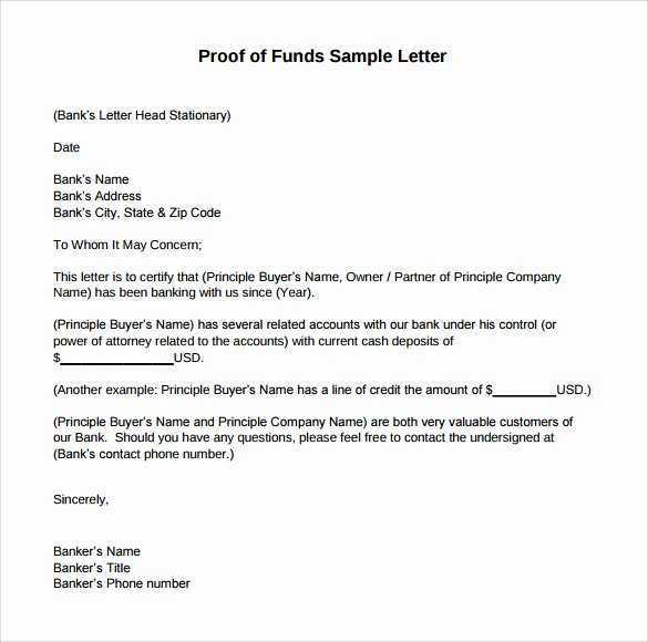 Use Of Funds Template New Sample Proof Of Funds Letter 7 Download Free Documents In Pdf Word