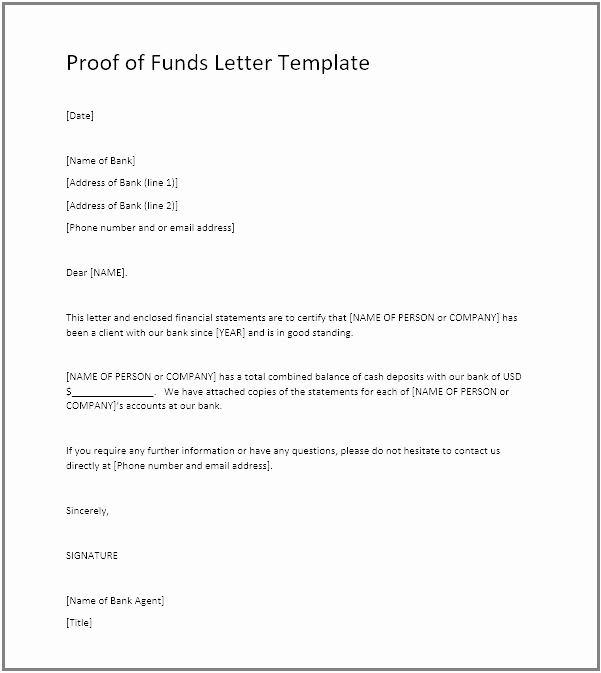Use Of Funds Template Unique Proof Of Funds Pof Definition Example Pof Letter