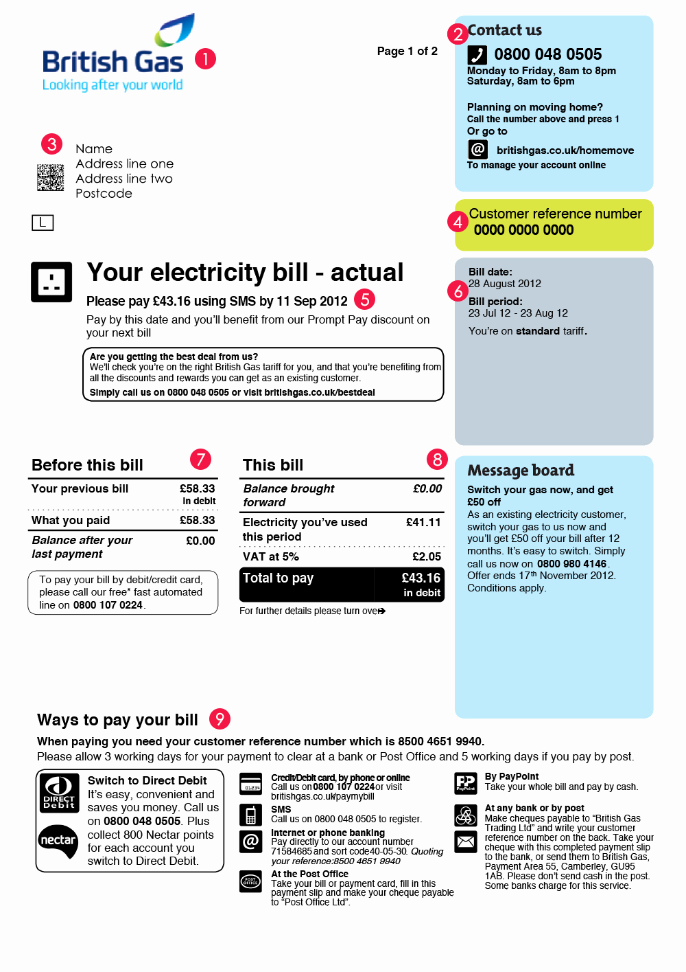 Utility Bill Template Free Download Inspirational British Gas Bill Bill Design