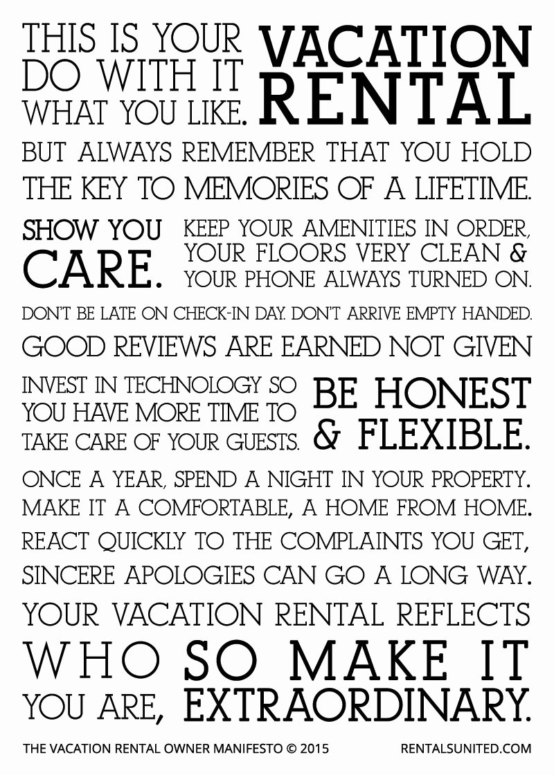Vacation Rental Checklist Template Best Of Vacation Rental Owner Manifesto Vacation Rentals