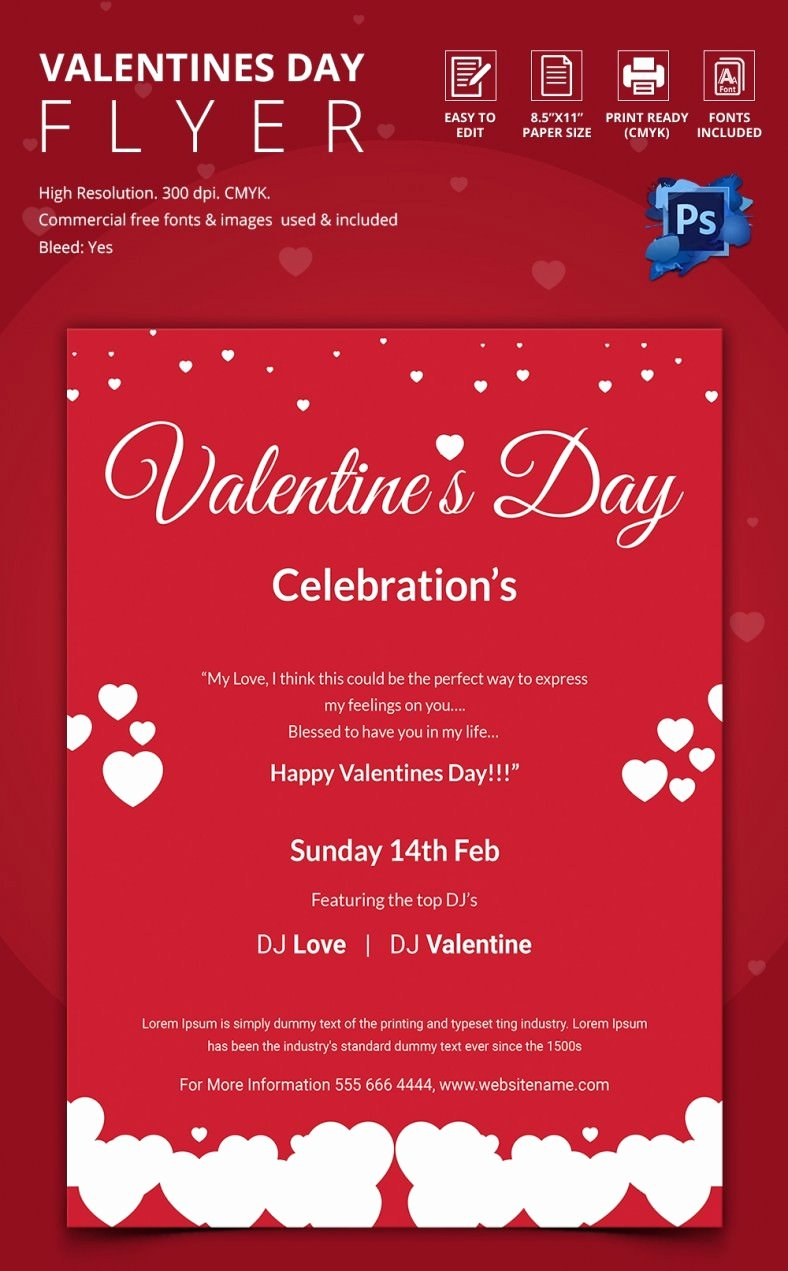 Valentines Flyer Templates Free Best Of 53 Fabulous Psd Valentine Flyer Templates & Designs