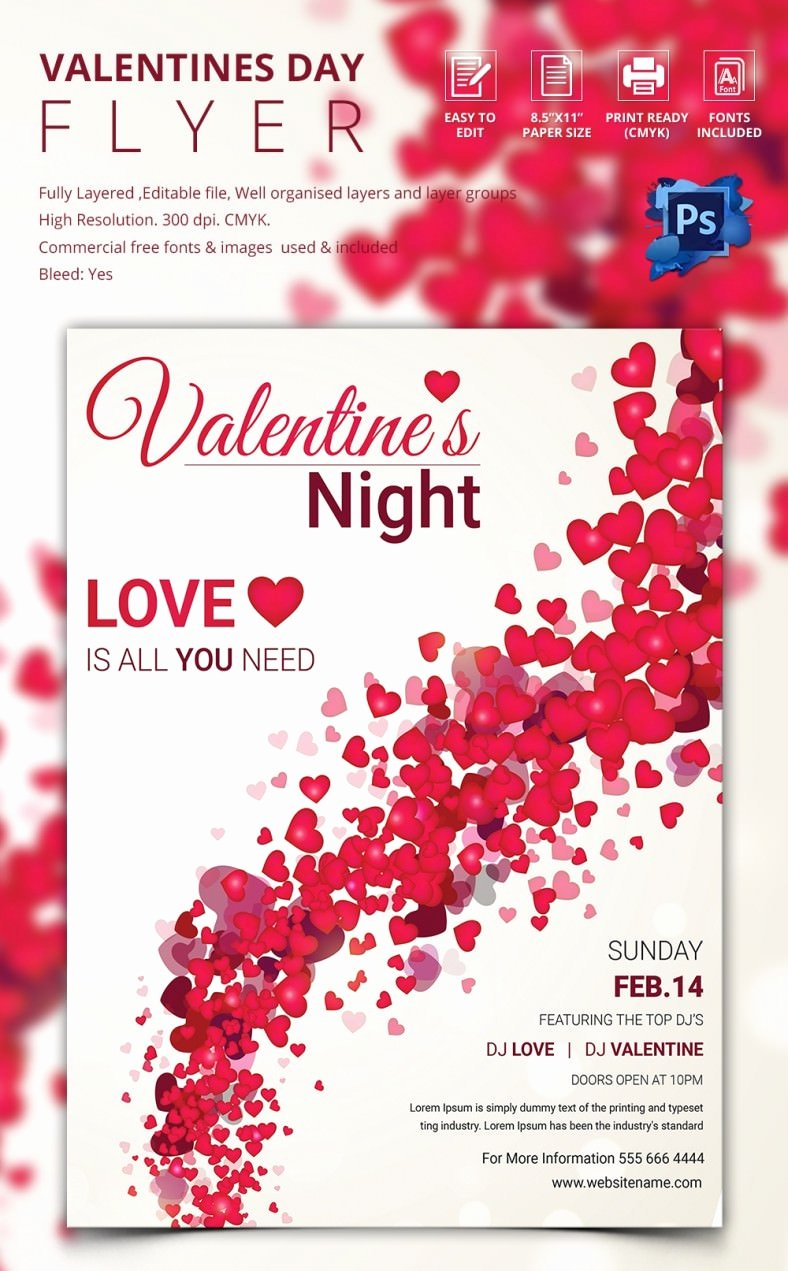 Valentines Flyer Templates Free Elegant 53 Fabulous Psd Valentine Flyer Templates & Designs