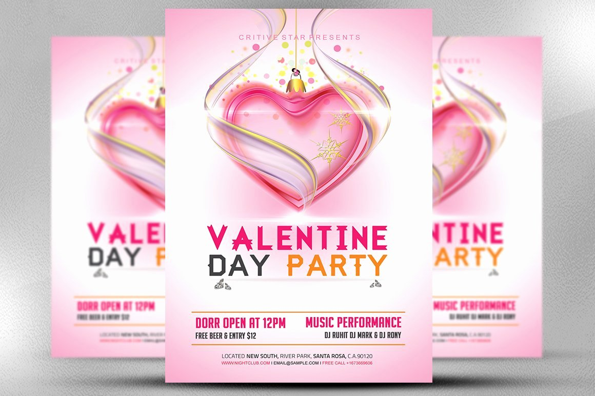 Valentines Flyer Templates Free Elegant Valentine Day Party Flyer Template Flyer Templates