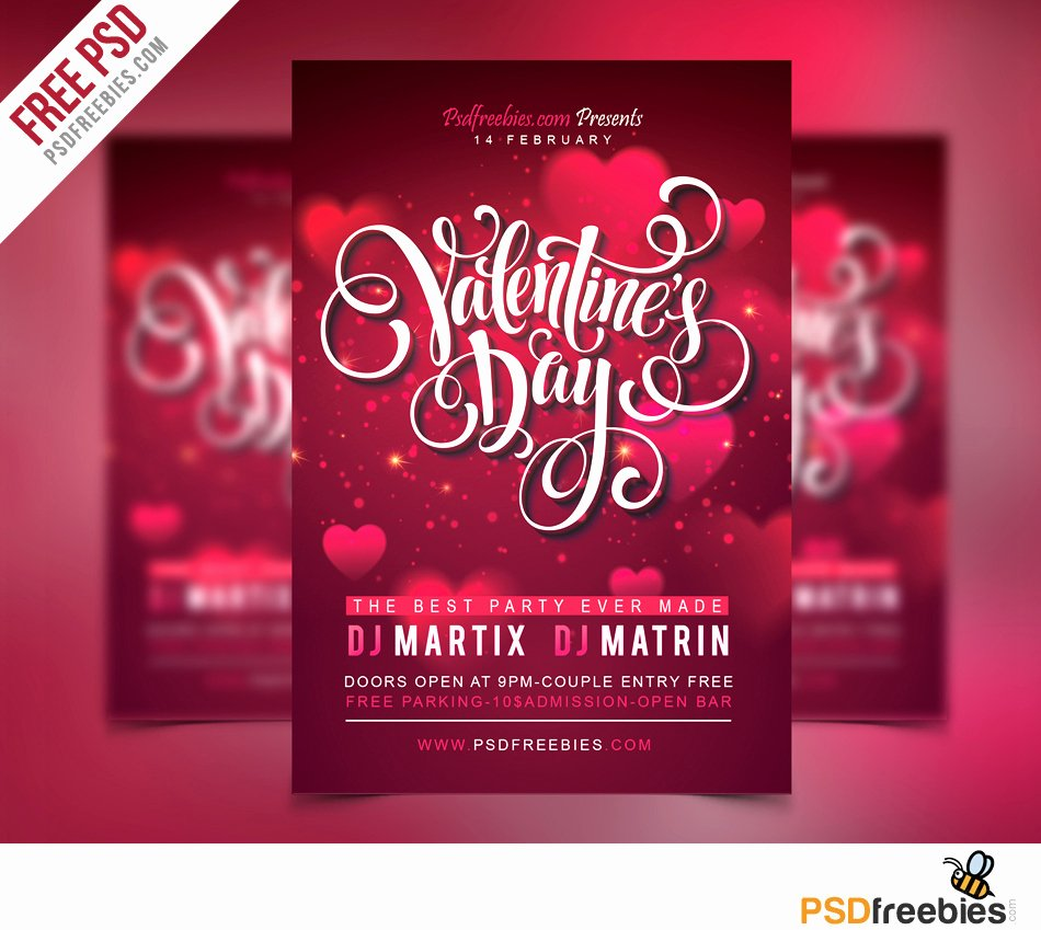 Valentines Flyer Templates Free New Free Valentines Party Flyer Psd Template