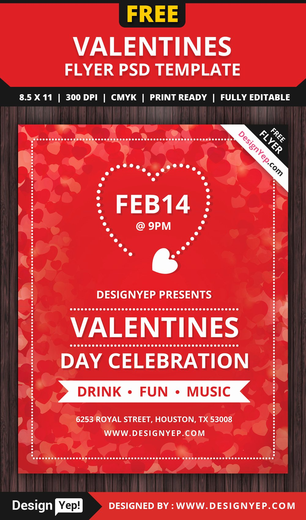 Valentines Flyer Templates Free Unique Valentines Day Flyer Free Psd Template Designyep