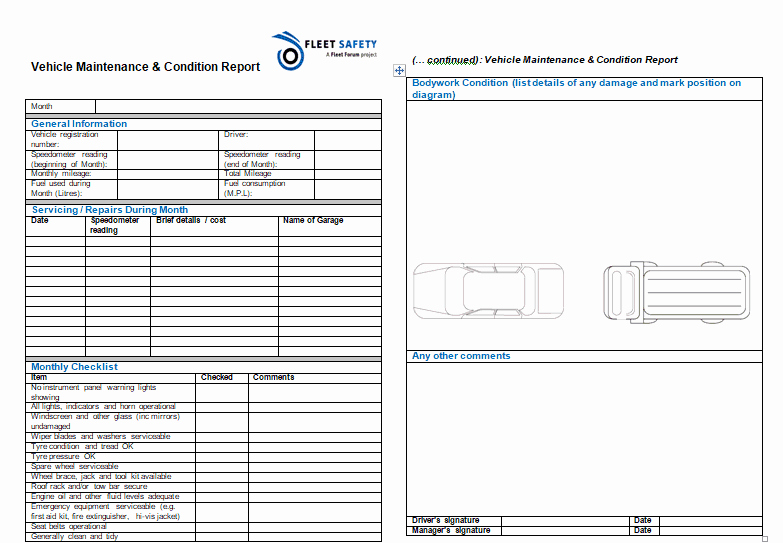 Vehicle Condition Report Template Elegant 12 Vehicle Condition Report Templates Word Excel Samples