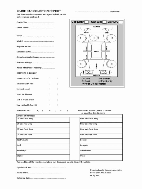 Vehicle Condition Report Template Fresh Printable Lesson Plan Template