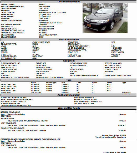 Vehicle Condition Report Template New 5 Vehicle Condition Reports – Word Excel Templates