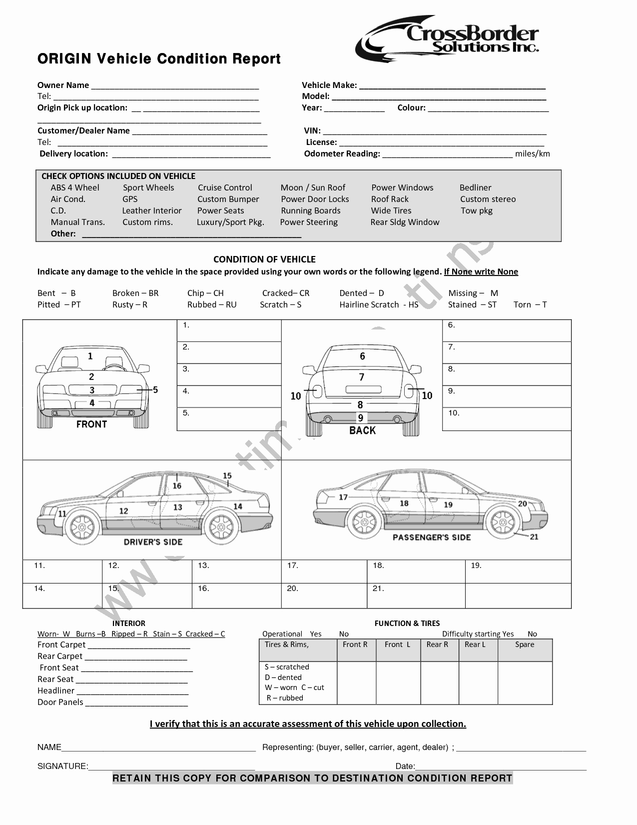 Vehicle Condition Report Template New 5 Vehicle Condition Reports Word Excel Templates