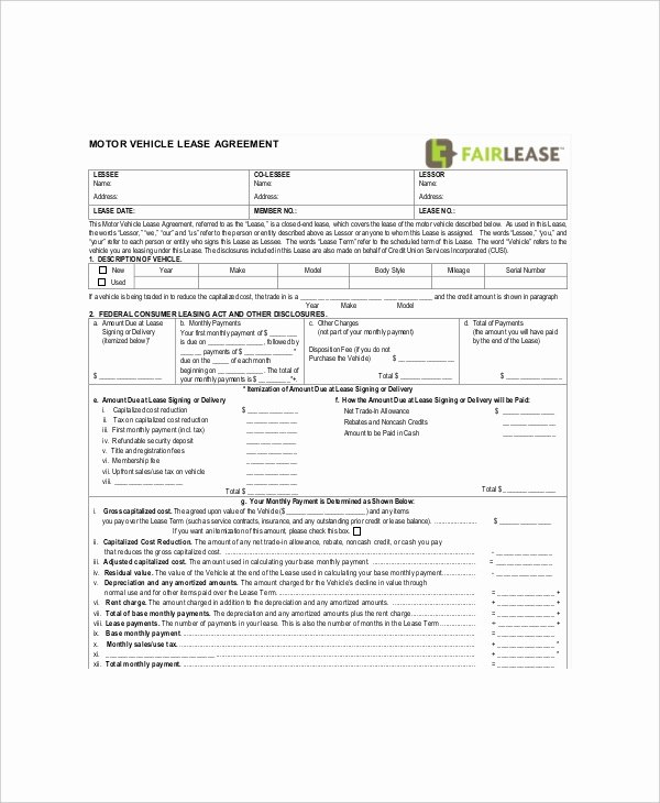 Vehicle Lease Agreement Pdf Inspirational 8 Blank Lease Templates Free Sample Example format