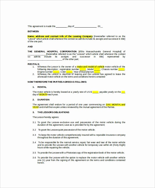 Vehicle Lease Agreement Pdf Lovely 11 Sample Vehicle Lease Templates Pages Docs
