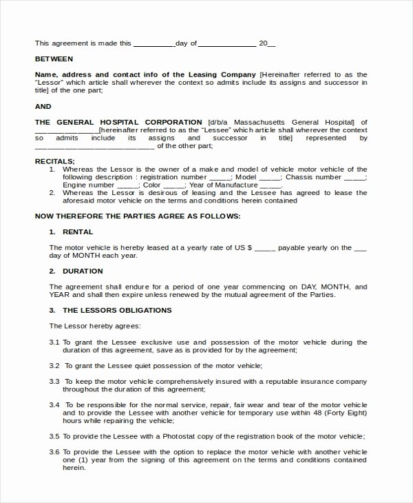 Vehicle Lease Agreement Pdf Lovely Free 5 Sample Lease Purchase Agreement forms In Pdf