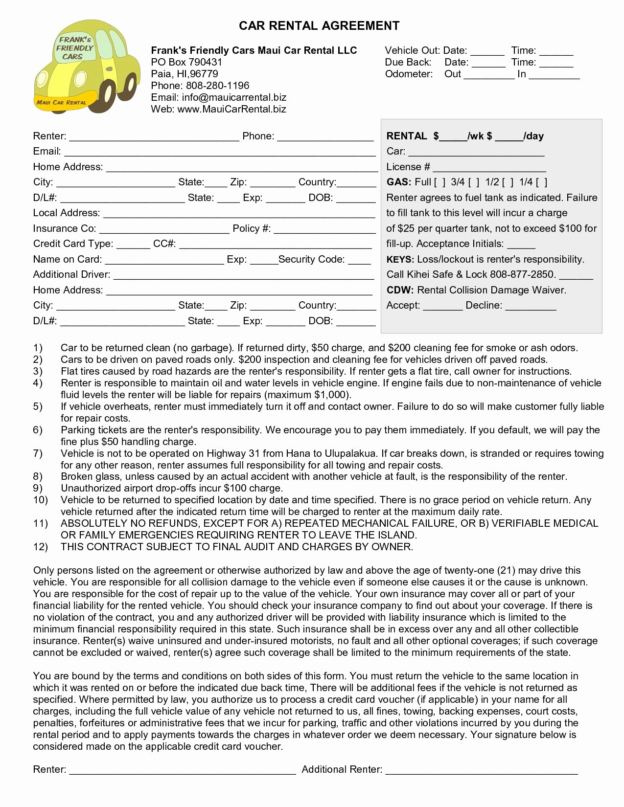 Vehicle Lease Agreement Pdf New 36 Regular Sample Car Rental Agreement form Le W7501
