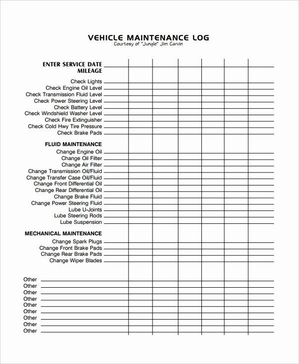 Vehicle Maintenance Log Template Awesome Maintenance Log Template 12 Free Word Excel Pdf Documents