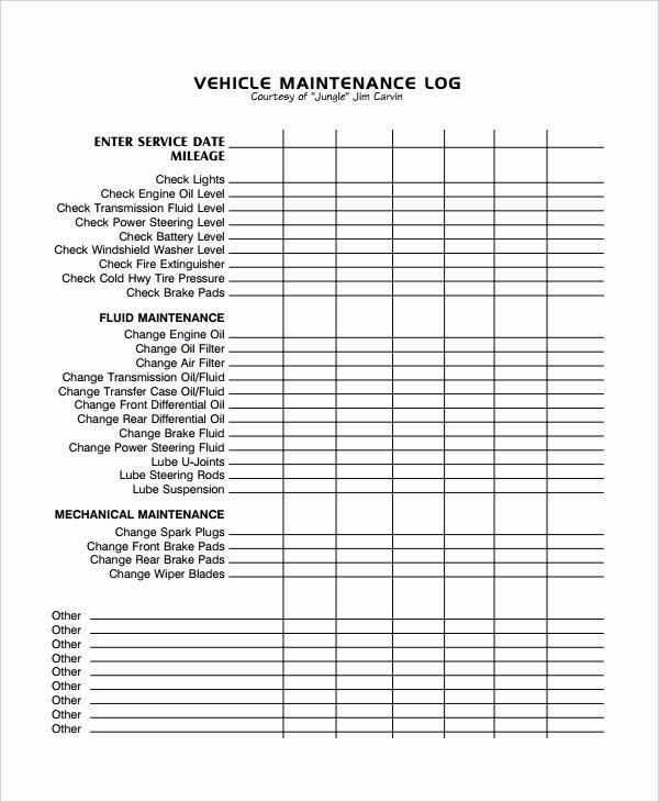 Vehicle Maintenance Log Template Awesome Maintenance Log Template 12 Free Word Excel Pdf Documents