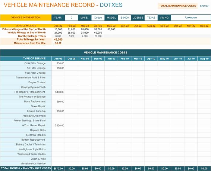 Vehicle Maintenance Log Template Best Of Vehicle Maintenance Log Template for Excel Monthly Dotxes