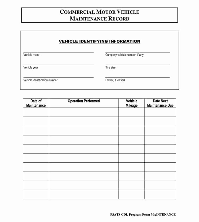 Vehicle Maintenance Log Template Inspirational Printable Vehicle Maintenance Log Templates