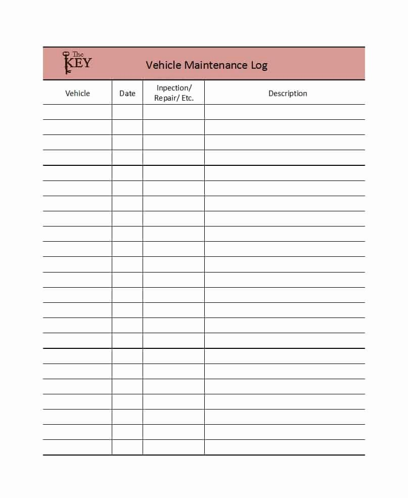 Vehicle Maintenance Log Template New 40 Printable Vehicle Maintenance Log Templates Template Lab